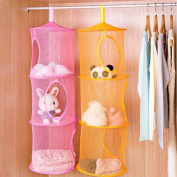 LeeRose 2 Pcs Hanging Mesh Space Organiser 3 Compartments Toy Storage Basket for Kids Room Organisation ,Random Colours
