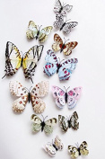 Liroyal 12 Pieces 3D Butterfly Stickrs Fashion Design DIY Wall Decoration House Decoration Babyroom Decoration-ROSE
