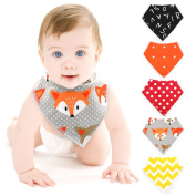 Baby Bibs @Almondcy Baby Bandana Drool Bibs Unisex, for Babies and Toddler, Pure Cotton Stylish Bandana 5-Pack