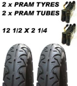 2 x Pram Tyres & 2x Tubes 12 1/2 X 2 1/4 Slick Valco Runabout, Phil & teds Sport