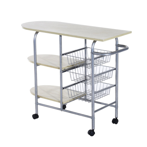Homcom Portable Kitchen Cart Rolling Trolley Multi Tier