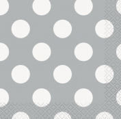 13cm Silver Polka Dot Paper Napkins, Pack of 16