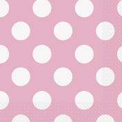 17cm Baby Pink Polka Dot Paper Napkins, Pack of 16