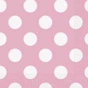 17cm Baby Pink Polka Dot Paper Napkins, Pack of 16