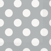 17cm Silver Polka Dot Paper Napkins, Pack of 16