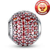 Glamulet 925 Sterling Sliver Lucky Birthstone Paved Crystal Charms Beads Fits Pandora Bracelet, January Garnet Red Ideal Jewellery Gifts for Birthday, Anniversary, for Women, Mom, Wife, Girls