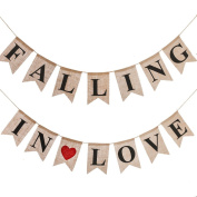 Ling's moment Rustic Falling in Love Burlap Banner, Vintage Style Burlap Banner Kit for Wedding Decoration, Party Decor, 14pcs Flags