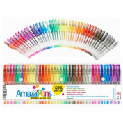 Gel Colouring Pens by AmazaPens - 40 Pack Super Glitter | 150% More Ink than Other Sets | Best for Adding Sparkle to Your Adult Colouring Books and Art Projects