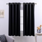 PONYDANCE Room Darkening Eyelet Blackout Curtains for Bedroom / Windows Treatment Panels Energy Saving, W 52 x L 140cm Each Panel, 2 Pieces, Black