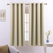 Eyelets Blackout Windows Curtains Panels - PONYDANCE Drapes Curtains Windows Treatment for Living Room / Room Darkening & Noise Reducing, Width 130cm by Drop 140cm , 1 Pair, Beige