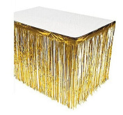 SUNBEAUTY 0.7m x 2.7m Fringe Foil Table Skirt Sparkle Party Tinsel Backdrop Party Wedding Decoration