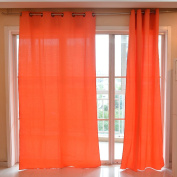 Souarts Orange Colour 300D Map Floral Pattern Door Window Curtain Panel Sheer Scarf Valance 1pc