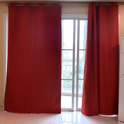 Souarts Red Colour Artificial Leather Fabric Fully Lined Readymade Window Door Curtain Panel Scarf 1pc