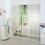 Ecarton Door Window Balcony Small Love Heart Tulle Voile Sheer Curtain Panel.