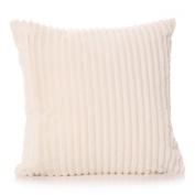 New Ivory Faux Fur Ribbed Large Filled Cushion & Cover Large Sofa Pillow 45cm