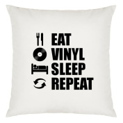Eat Sleep Repeat Vinyl Record Design Large Cushion Cover with Filling