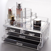 Clear Acrylic 4 Drawers Cosmetic Makeup Display Stand Storage Rack Box Case Vanity Table Jewellery Art Crafts Organiser BS3003