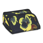 JODA Womens Navy Blue and Green Flower Travel Make up Bag Cosmetic Purse with mirror