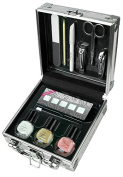 JUST TO GO FRENCH NAILS! 12 PIECES MANICURE SILVER CASE SET! FRENCH MANICURE & ACCESSORIES SET! PERFECT GIFT! NAIL CARE!