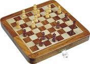 Avs Stores ® Wooden Magnetic Travel Chess Set-Ultimate 18cm Inch Classic Wooden Travel Chess Set with Magnetic Staunton Pieces and Folding Game Board