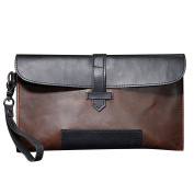 Men Handbag PU Leather Leisure Long Clutch Envelope Wallet Purse