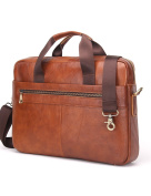 Contacts Genuine Leather Mens Briefcase Messenger Bag Laptop Bag