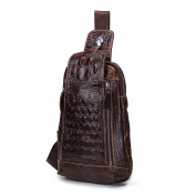 Contacts Genuine Leather Mens Casual Daypacks Alligator Leather Vintage Crossbody Bags Travel Bag