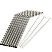 Hrph 8Pcs Stainless Steel Metal Drinking Straw Straws with 3 Cleaner Brush Kit New