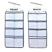 Hanging Closet Organiser with 16 LARGE Pockets stores Bras, Underwear, Clothes, Stockings, Socks, Jewellery, Toiletries, Baby, Household & Children Accessories - Durable Dual-sided Storage Saves Space