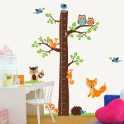 Colorfulworld ® XXXL Owl Bird Fox Tree Squirrel & Growthchart Height Chart PVC Wall Sticker for Child's Room Gift Set of 2