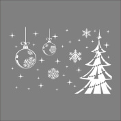 Raylinedo® Merry Christmas The Christmas Tree Removable Wall Stickers Window Sticker Art Decals Mural DIY Wallpaper for Room Decal White Colour 123*80CM