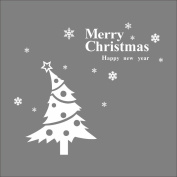 Raylinedo® Merry Christmas The White Christmas Tree And a Happy New Year Removable Wall Stickers Window Sticker Art Decals Mural DIY Wallpaper for Room Decal 119*106CM