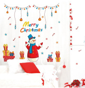 Raylinedo® Merry Christmas The Beautiful Colourful Snow Man Removable Wall Stickers Window Sticker Art Decals Mural DIY Wallpaper for Room Decal 105*114CM