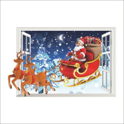 Raylinedo® Merry Christmas The Colourful Santa Claus And Deers Removable Wall Stickers Window Sticker Art Decals Mural DIY Wallpaper for Room Decal 70*50CM