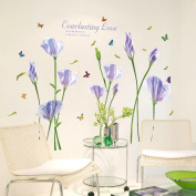 Lavender Blooming Flowers Butterflies English Letters Wall Sticker Decal Home Paper PVC Murals House Wallpaper Bedroom Kids Babys Living Room Art Picture Decoration