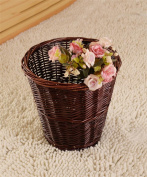 No Cover Retro Handmade Rattan Living Room Bedroom Bathroom Trash Can