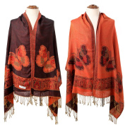 New Black Red Women's Reversible TwoFace Silk Pashmina Shawl Scarf Butterfly