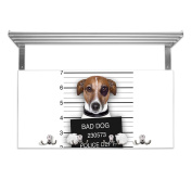 Coat Rack with Hat Shelf and Motif Bad Dog Jack Russel