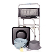 Drive Medical Folding Steel Bedside Commode Sitting on the front end of the toilet seat