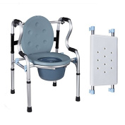 Drive Medical Folding Bedside Commode Seat with Commode Bucket and Splash Guard blue