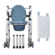 Aluminium Shower Chair/bedside Commode W/casters and Padded Seat, Commode Pail and Cover