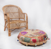 JTH Vintage Indian Pouffe Foot Stool Round Embrodried Patchwork Ottoman (Size