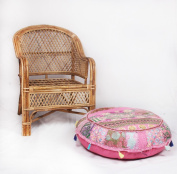 JTH Bohemian Indian pouffe Embroidered Footstool Decorative Patchwork Ottoman (Size