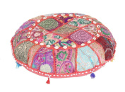 Indian Large Floor Round Pillows Boho Patchwork Zari Shams With Insert Ottoman
