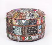 Ethnic Decor Pouffe Antique Saree Pouffe Foot stool Round Poof Floor Pillow Ottoman
