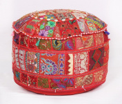 Vintage Indian Pouffe Foot Stool Round Embrodried Patchwork Ottoman Bean Bag