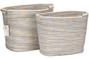 Sea Team Square Natural Cotton Thread Woven Coiled Rope Storage Baskets Bins Organisers with Totes for Nursery Kid's Room Storage, Set of 2