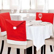 SOGAR Christmas Santa Hat Chair Covers Red Hat Chair Back Covers for Christmas Dinner Decor, Set of 6