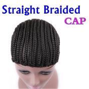 Braided Wig Caps in Straight MEDIUM Mesh Weave Cap with Braids