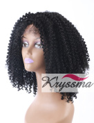 K'ryssma Cheap Realistic Looking Synthetic Lace Front Wigs For Black Women With Baby Hair-Soft Japanese Fibre Glueless Synthetic Afro Kinky Curly Wigs Heat Resistant Daily Wear 41cm #1B